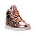 Three Quarter view of Girls' Preschool Reebok Street Stud Casual Shoes in Rose Gold/White
