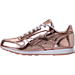 Left view of Girls' Grade School Reebok Classic Leather Metallic Casual Shoes in Rose Gold/White