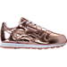 Right view of Girls' Preschool Reebok Classic Leather Metallic Casual Shoes in Rose Gold/White