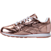 Left view of Girls' Preschool Reebok Classic Leather Metallic Casual Shoes in Rose Gold/White