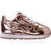 Right view of Girls' Toddler Reebok Classic Leather Metallic Casual Shoes in Rose Gold/White