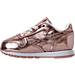 Left view of Girls' Toddler Reebok Classic Leather Metallic Casual Shoes in Rose Gold/White