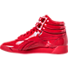 Left view of Women's Reebok Freestyle Hi Patent Casual Shoes in Primal Red