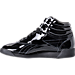 Left view of Women's Reebok Freestyle Hi Patent Casual Shoes in Black