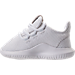 Left view of Boys' Toddler adidas Tubular Shadow Casual Shoes in White/White