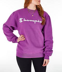 Womens Champion Powerblend Fleece Boyfriend Crew Sweatshirt,Purple