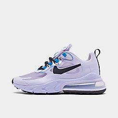 Womens 나이키 Nike Air Max 270 React Casual Shoes,Amethyest Tint/Off Noir/Blue Hero