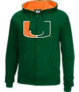 Men's J. America Miami Hurricanes College Cotton Full-Zip Hoodie