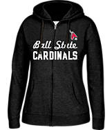 Women's J. America Ball State Cardinals College Cotton Full-Zip Hoodie