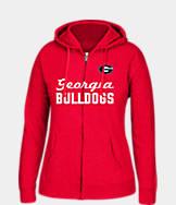 Women's J. America Georgia Bulldogs College Cotton Full-Zip Hoodie