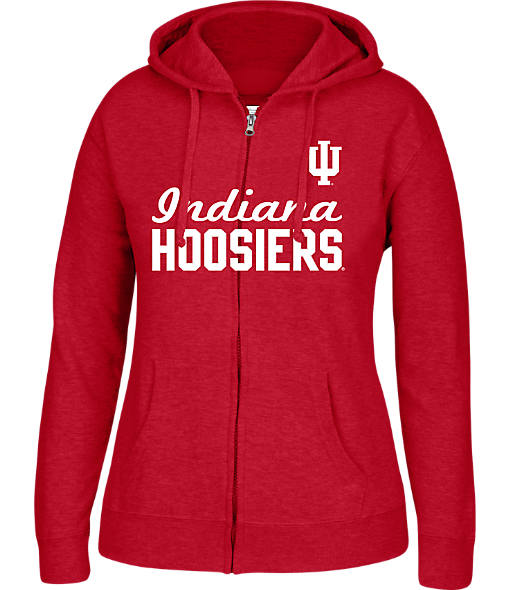 Women's J. America Indiana Hoosiers College Cotton Full-Zip Hoodie