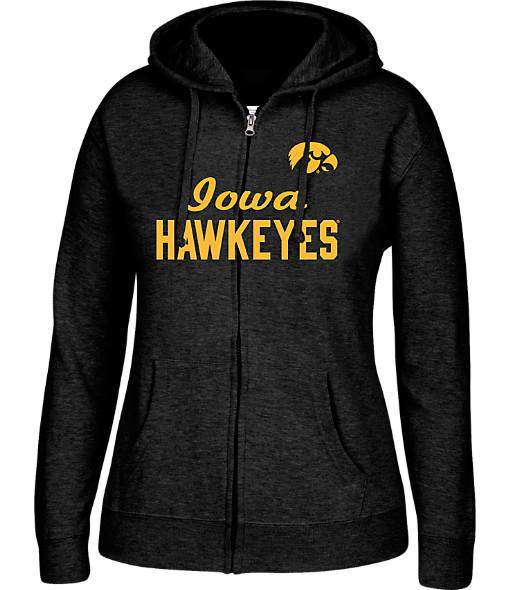Women's J. America Iowa Hawkeyes College Cotton Full-Zip Hoodie