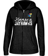 Women's J. America Kansas Jayhawks College Cotton Full-Zip Hoodie