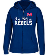 Women's J. America Mississippi Rebels College Cotton Full-Zip Hoodie