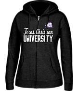 Women's J. America TCU Horned Frogs College Cotton Full-Zip Hoodie