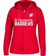 Women's J. America Wisconsin Badgers College Cotton Full-Zip Hoodie