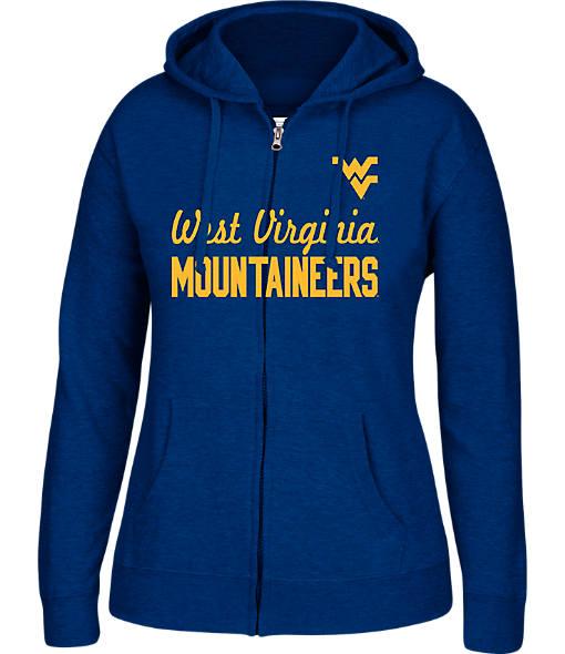 Women's J. America West Virginia Mountaineers College Cotton Full-Zip Hoodie
