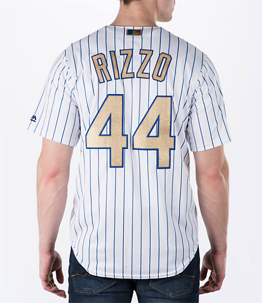 Men's Majestic Chicago Cubs MLB Anthony Rizzo Gold Replica Jersey