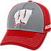 Front view of Top Of The World Wisconsin Badgers College Dynamic Flex Fit Hat in Team Colors