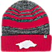 Front view of Top of the World Arkansas Razorbacks College Echo Knit Hat in Team Colors