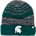 Front view of Top of the World Michigan State Spartans College Echo Knit Hat in Team Colors