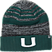 Front view of Top of the World Miami Hurricanes College Echo Knit Hat in Team Colors