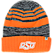 Front view of Top of the World Oklahoma State Cowboys College Echo Knit Hat in Team Colors