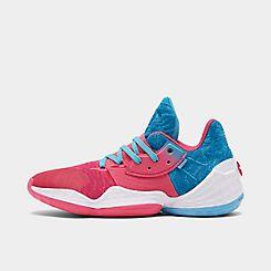 아디다스 Adidas Mens adidas Harden Vol 4 Basketball Shoes,Bright Cyan/Real Pink/Footwear White