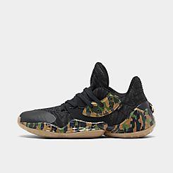 아디다스 Adidas Mens adidas Harden Vol 4 Basketball Shoes,Core Black/Tech Olive/Legend Earth