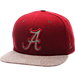 Front view of Zephyr Alabama Crimson Tide College Executive Snapback Hat in Team Colors/Grey
