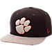 Front view of Zephyr Clemson Tigers College Executive Snapback Hat in Team Colors/Grey