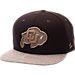Front view of Zephyr Colorado Buffaloes College Executive Snapback Hat in Team Colors/Grey