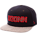 Front view of Zephyr UConn Huskies College Executive Snapback Hat in Team Colors/Grey