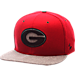 Front view of Zephyr Georgia Bulldogs College Executive Snapback Hat in Team Colors/Grey