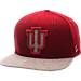 Front view of Zephyr Indiana Hoosiers College Executive Snapback Hat in Team Colors/Grey