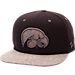 Front view of Zephyr Iowa Hawkeyes College Executive Snapback Hat in Team Colors/Grey