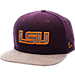 Front view of Zephyr LSU Tigers College Executive Snapback Hat in Team Colors/Grey