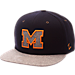 Front view of Zephyr Michigan Wolverines College Executive Snapback Hat in Team Colors/Grey