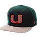 Front view of Zephyr Miami Hurricanes College Executive Snapback Hat in Team Colors/Grey