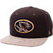 Front view of Zephyr Missouri Tigers College Executive Snapback Hat in Team Colors/Grey