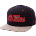 Front view of Zephyr Mississippi Rebels College Executive Snapback Hat in Team Colors/Grey