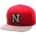 Front view of Zephyr Nebraska Cornhuskers College Executive Snapback Hat in Team Colors/Grey