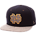 Front view of Zephyr Notre Dame Fighting Irish College Executive Snapback Hat in Team Colors/Grey