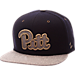 Front view of Zephyr Pitt Panthers College Executive Snapback Hat in Team Colors/Grey