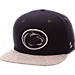 Front view of Zephyr Penn State Nittany Lions College Executive Snapback Hat in Team Colors/Grey