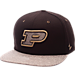 Front view of Zephyr Purdue Boilermakers College Executive Snapback Hat in Team Colors/Grey