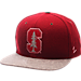 Front view of Zephyr Stanford Cardinal College Executive Snapback Hat in Team Colors/Grey