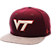 Front view of Zephyr Virginia Tech Hokies College Executive Snapback Hat in Team Colors/Grey