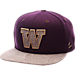 Front view of Zephyr Washington Huskies College Executive Snapback Hat in Team Colors/Grey
