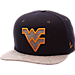 Front view of Zephyr West Virginia Mountaineers College Executive Snapback Hat in Team Colors/Grey